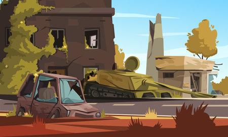 Illustration pour City Destroy In War Zone - image libre de droit