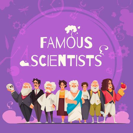 Illustration pour Famous Scientists Square Composition - image libre de droit