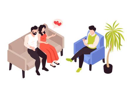 Illustration pour Couple Counselling Isometric Composition - image libre de droit