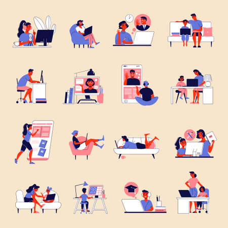 Illustration pour Distant Learning Icon Set - image libre de droit