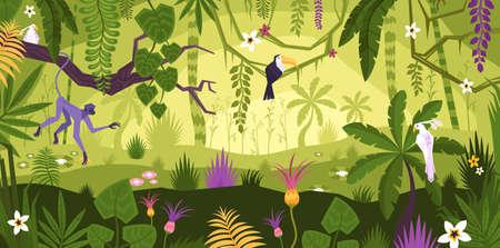 Illustration pour Jungle Rainforest Landscape Composition - image libre de droit