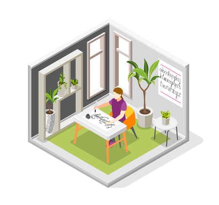 Illustration pour Girl Lettering Hobby Composition - image libre de droit