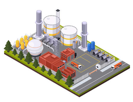 Illustration for Petroleum Processing Plant Composition - Royalty Free Image