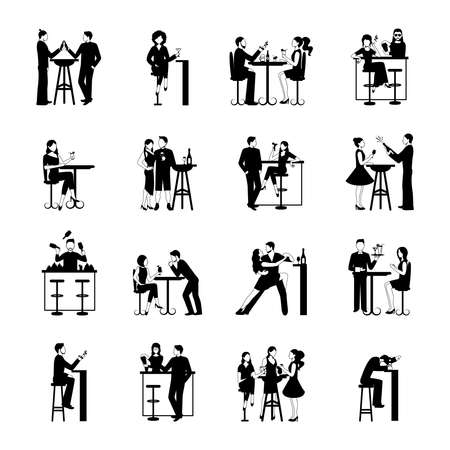 Illustration pour Drinking people icons set black and white isolated vector illustration - image libre de droit