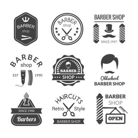 Illustration pour Barber shop emblems set with brush beard cream blade isolated vector illustration - image libre de droit