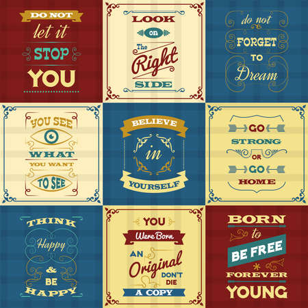Illustration pour Slogan and motivational sayings typography mini posters set isolated vector illustration - image libre de droit