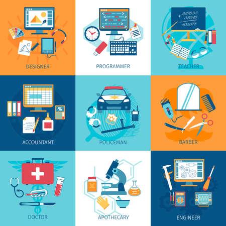 Illustration pour Different profession workspace and equipment concept set isolated vector illustration - image libre de droit