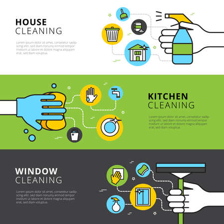 Illustration for Cleaning flat horizontal banners with hands detergents and tools for house kitchen and window cleaning vector illustration - Royalty Free Image