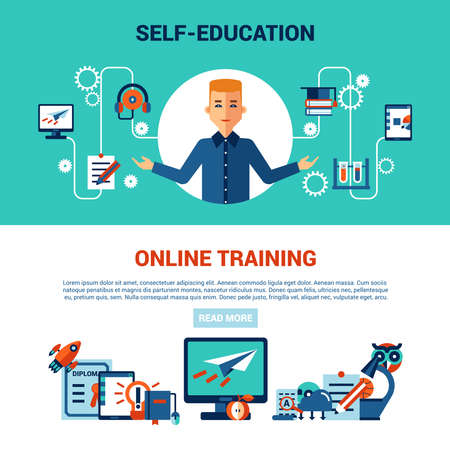 Illustration pour online education horizontal banner set with young man computer self education and online training icons vector illustration - image libre de droit