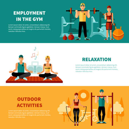 Illustration for Fitness flat horizontal banners set with gym training relaxation exercises and outdoors activity compositions vector illustration - Royalty Free Image