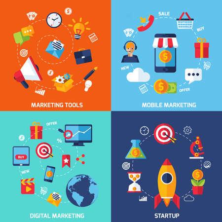 Illustration pour Digital marketing design concept set with startup flat icons isolated vector illustration - image libre de droit