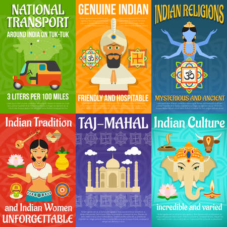Illustration for India poster mini set with national transport religions and culture isolated vector illustration - Royalty Free Image