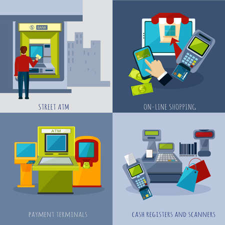 Illustration for Atm design concept set with payment systems cartoon icons isolated vector illustration - Royalty Free Image