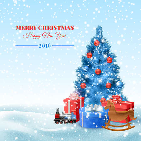 Illustration pour Christmas tree with toys and gift boxes postcard vector illustration - image libre de droit