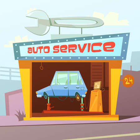 Ilustración de Auto service building cartoon background with car inside vector illustration - Imagen libre de derechos