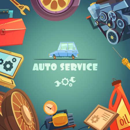 Ilustración de Auto service cartoon background with maintenance and repair symbols vector illustration - Imagen libre de derechos