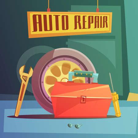 Ilustración de Auto repair cartoon background with spare parts and tools vector illustration - Imagen libre de derechos