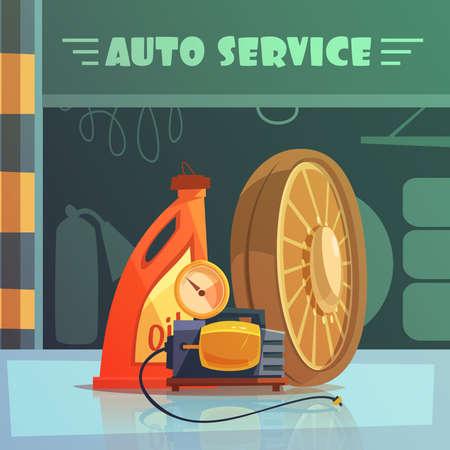 Ilustración de Auto service equipment cartoon background with oil and wheel vector illustration - Imagen libre de derechos