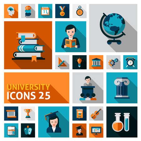 Illustration pour University and studying flat decorative icons set isolated vector illustration - image libre de droit