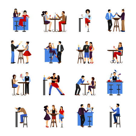 Illustration pour People sitting and drinking in bar flat icons set isolated vector illustration - image libre de droit