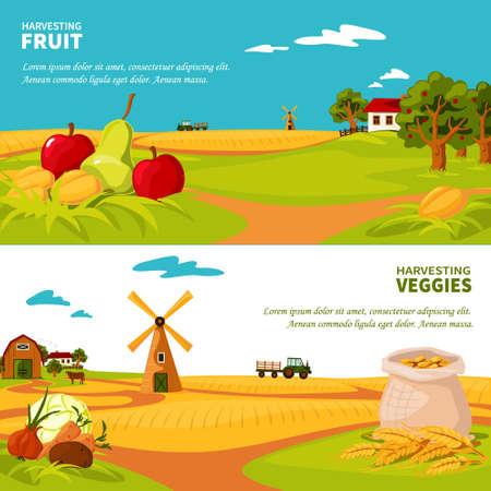 Illustration pour Flat design horizontal banners set with beautiful farm landscapes veggies and fruit harvest isolated vector illustration - image libre de droit