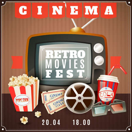 Illustration for Retro movies festival announcement poster with old tv  3d glasses and classic cinema theater attributes vector illustration - Royalty Free Image