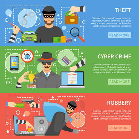 Illustration pour Theft flat horizontal banners with different types of stealing and threats for property money information vector illustration - image libre de droit
