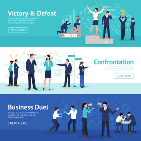 Illustration pour Constructive business confrontation principles for profitable result 3 flat horizontal banners webpage design isolated vector illustration - image libre de droit