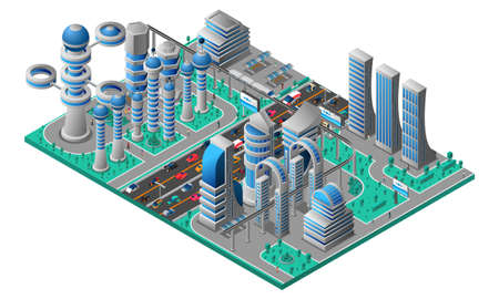 Illustration for Futuristic cityscape isometric template with buildings of future road car and trees vector illustration - Royalty Free Image