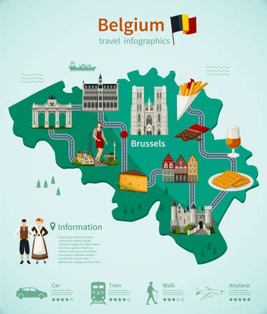 Illustration pour Belgium travel infographics with national map architecture and cuisine roads and rating of using transport vector illustration - image libre de droit