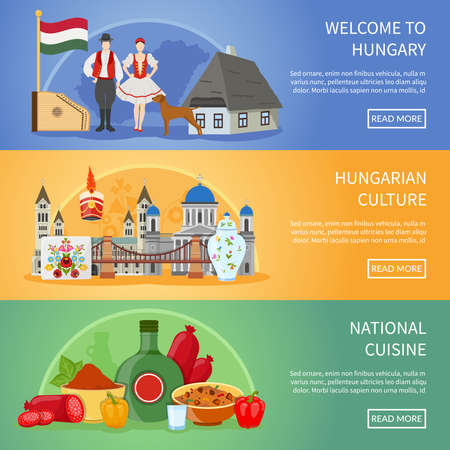 Illustration pour Set of three hungary banners with flat compositions of traditional architecture food costumes and national symbols vector illustration - image libre de droit