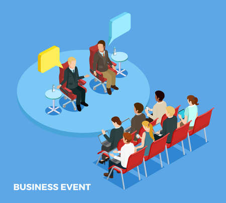 Illustration pour Business coaching isometric template with personnel and speakers on training meeting isolated vector illustration - image libre de droit