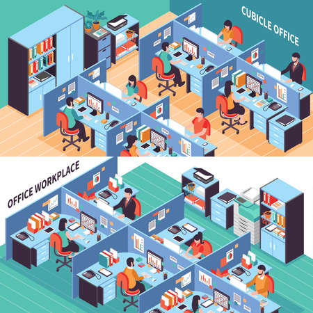 Illustration pour Two open space isometric horizontal banners with people working in office cubicles vector illustration - image libre de droit