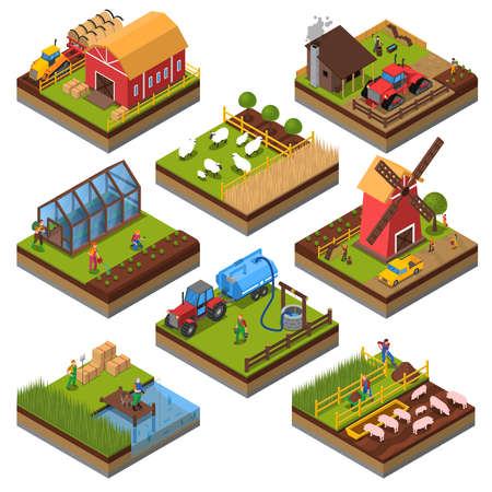 Illustration pour Agricultural compositions isometric set with farm buildings and vehicles livestock and fishing cultivated lands isolated vector illustration - image libre de droit