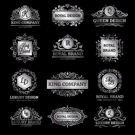 Illustration for Set of silver luxury labels with flourishes and monograms ornate decorations on black background isolated vector illustration - Royalty Free Image