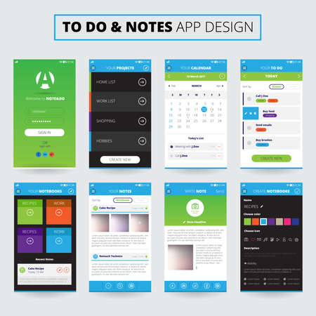Illustration pour Mobile apps design for notes and projects on smartphone screens with icons and settings isolated vector illustration - image libre de droit