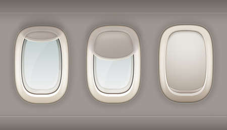 Illustration for Three realistic portholes of airplane from white plastic with open and closed window shades vector illustration - Royalty Free Image