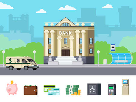 Illustration for Orthogonal concept with city bank office and financial tools including money and computer technologies isolated vector illustration - Royalty Free Image