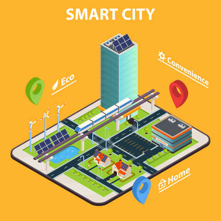 Illustration for Smart home conceptual background with isometric modern cityscape composition on top of tablet screen with symbols vector illustration - Royalty Free Image