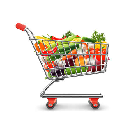 Illustration for Vegetables shopping realistic concept with shopping cart and goods vector illustration - Royalty Free Image