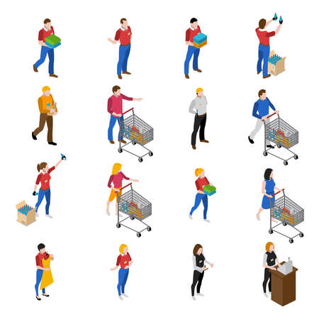 Illustration pour Supermarket isometric icons set with people and food isolated vector illustration - image libre de droit