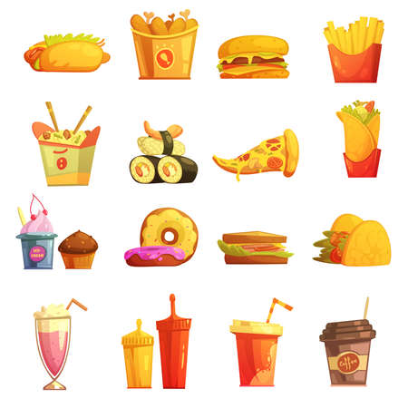 Illustration for Fast food retro cartoon icons collection with hot dog sushi hamburger and donuts abstract isolated vector illustration - Royalty Free Image