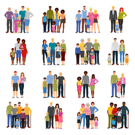 Illustration pour Young couples and families with teenage children grandparents fathers and mothers flat isolated icons set vector illustration - image libre de droit