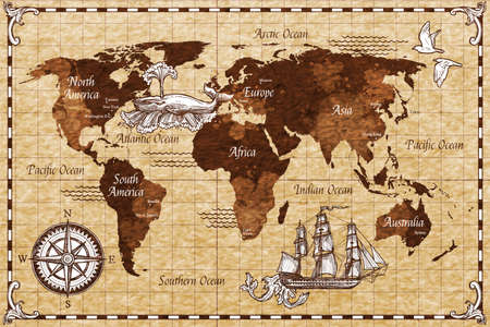 Illustration for Hand drawn sketch retro world map with lettering doodle vector illustration - Royalty Free Image