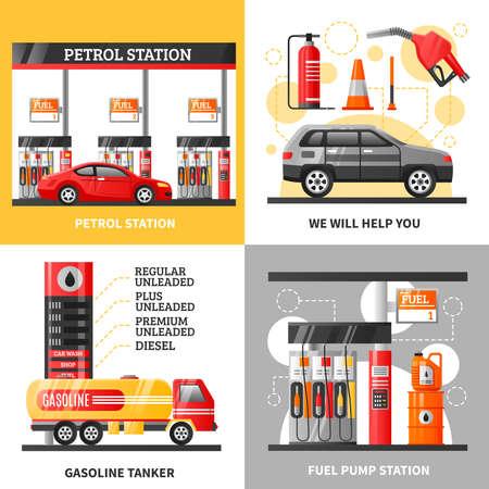 Illustration pour Gas and petrol station 2x2 design concept with petrol station gasoline tanker and fuel pump station flat vector illustration - image libre de droit