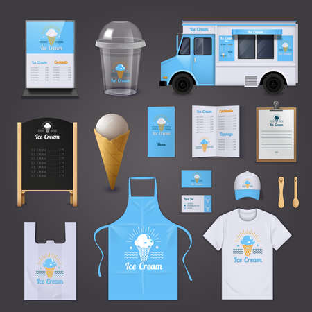 Illustration pour Ice cream corporate identity realistic icons set with apron menu and van isolated vector illustration - image libre de droit