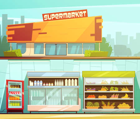 Illustration for Supermarket building entrance street view and groceries dairy shelves indoor 2 retro cartoon banners set isolated vector illustration - Royalty Free Image
