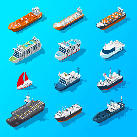 Illustration pour Ships motorboats sailing yachts and passenger vessels isometric icons set on water surface banner isolated vector illustration vector - image libre de droit