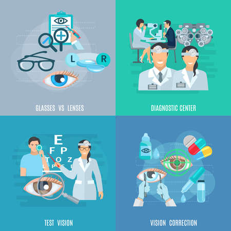 Illustration pour Oculist ophthalmic diagnostic center equipment for vision test and correction 4 flat icons square abstract isolated vector illustration - image libre de droit