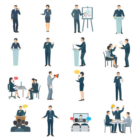 Illustration pour Public speaking skills flat icons collection with conference presentation visual aid and training abstract isolated illustration vector - image libre de droit